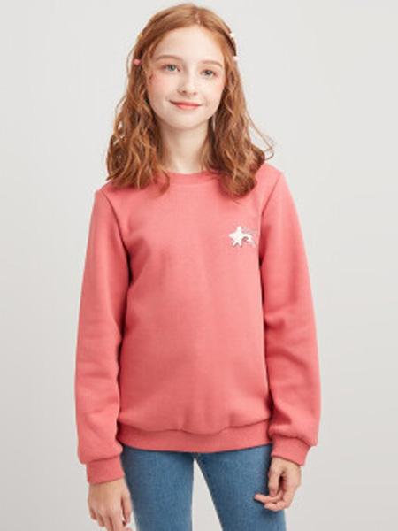 笛莎童装品牌2020秋冬甜美刺绣印花圆领长袖上衣 西瓜红