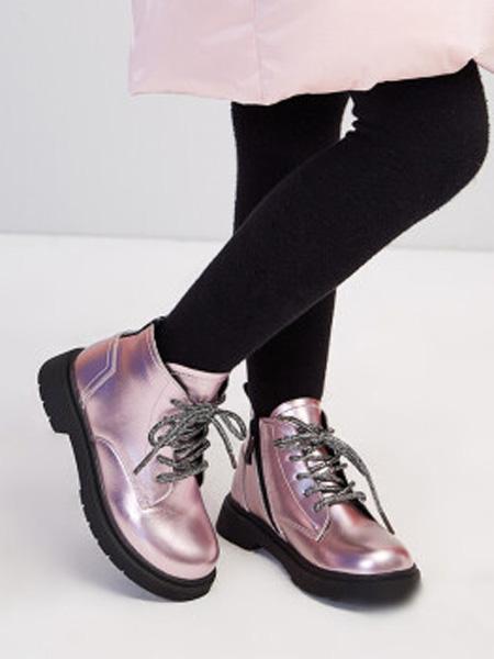 笛莎童装品牌2020秋冬宽松鞋头复古英伦皮靴 粉色