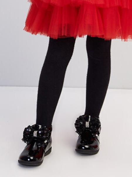 笛莎童装品牌2020秋冬可爱亮皮蝴蝶结皮靴短靴 黑色