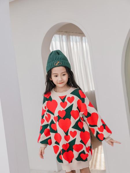 思贝秀童装品牌2020秋冬新品红色印花休闲上衣