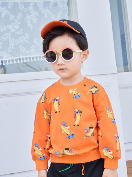 早言童装品牌2020秋冬新品橙色卡通印花上衣