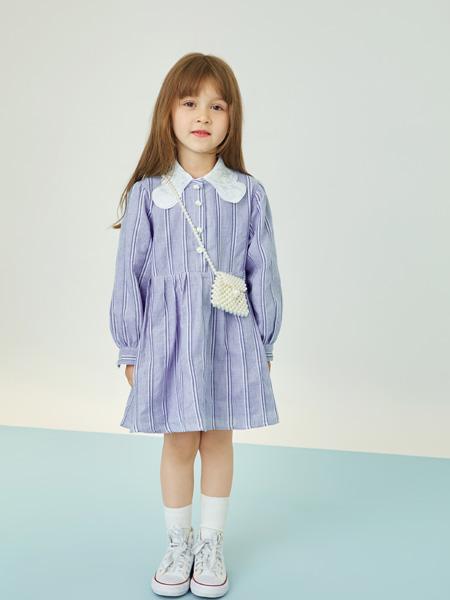 贝甜童装品牌2020秋冬紫色公主连衣裙