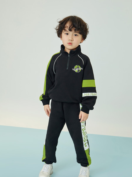 贝甜童装品牌2020秋冬黑色运动套装
