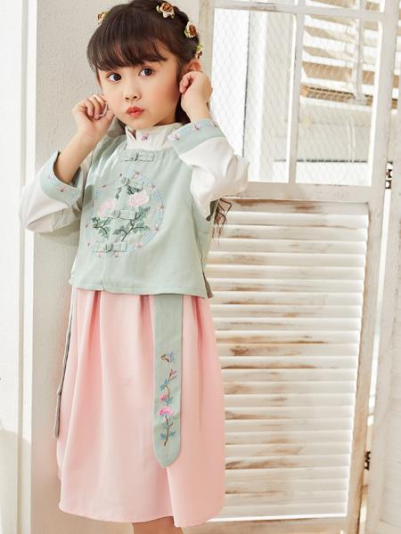 西瓜王子童装品牌2020秋冬古风绿色上衣粉色半裙