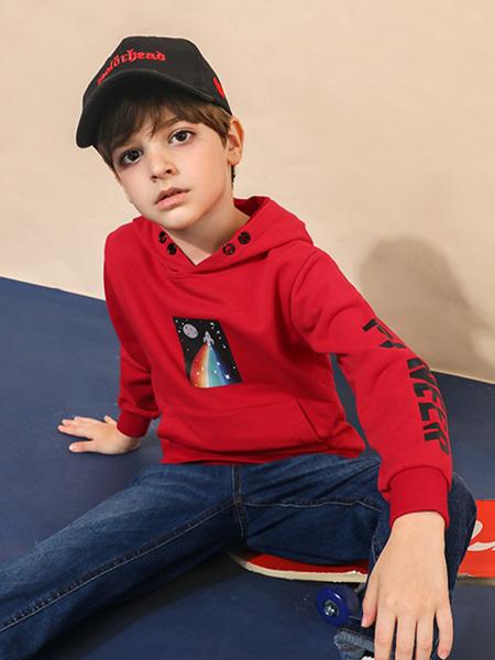 拓路者童装品牌2020秋冬红色印花上衣