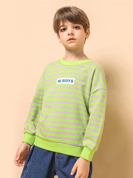 拓路者童装品牌2020秋冬绿色条纹上衣