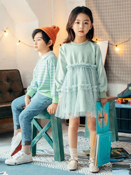 KISSABC童装品牌2020春蓝色拼接网纱连衣裙