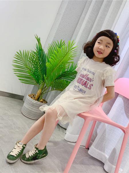 安朴童装品牌2020秋冬韩版连衣裙女童甜美蕾丝网纱裙公主鱼尾字母花边蕾丝拼接可爱裙子