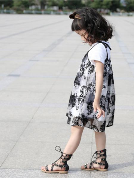 安朴童装品牌2020秋冬女童连衣裙夏2020夏中小童丝绒印花韩版短袖两件套吊带公主连衣裙