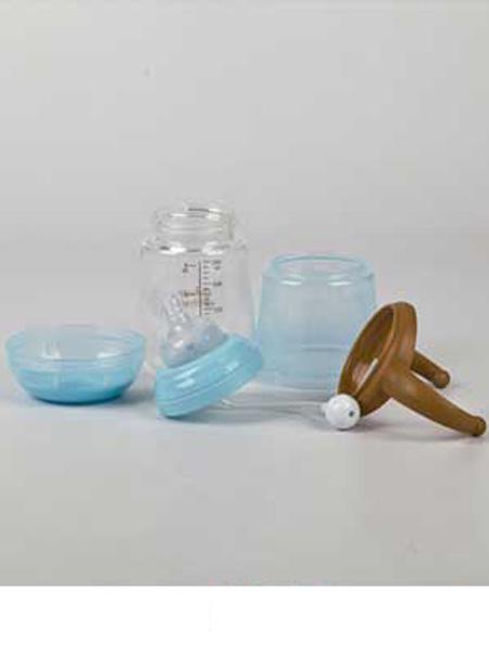 亨特贝贝婴童用品亨特贝贝防爆防摔宽口玻璃奶瓶240ml蓝色