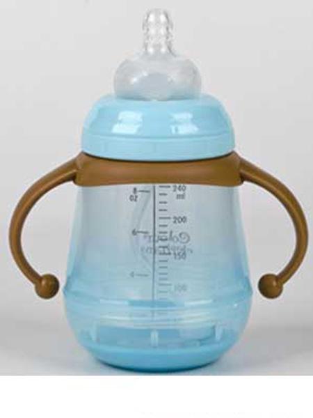 亨特贝贝婴童用品亨特贝贝防爆防摔宽口玻璃奶瓶240ml带手柄蓝色
