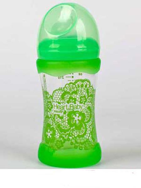 亨特贝贝婴童用品亨特贝贝宽口玻璃防摔初生瓶240ml绿色带盖