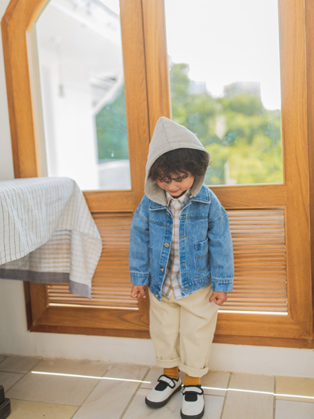 蒂萨纳D`sana童装品牌2020秋冬蓝色带帽牛仔外套