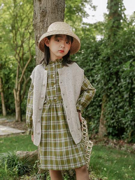 蒂萨纳D`sana童装品牌2020秋冬绿色格子连衣裙