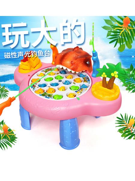 烨星婴童玩具儿童磁性恐龙钓鱼台电动音乐灯光旋转钓鱼玩具益智互动钓鱼盘玩具