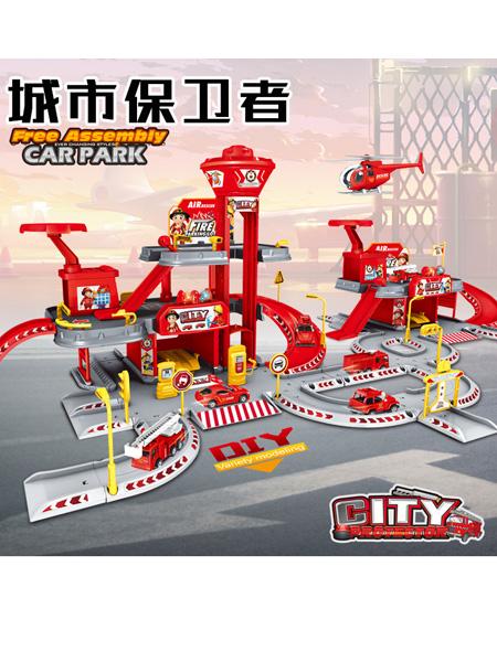 烨星婴童玩具儿童DIY多层轨道场景停车场模拟合金消防车玩具益智拼装生日礼物