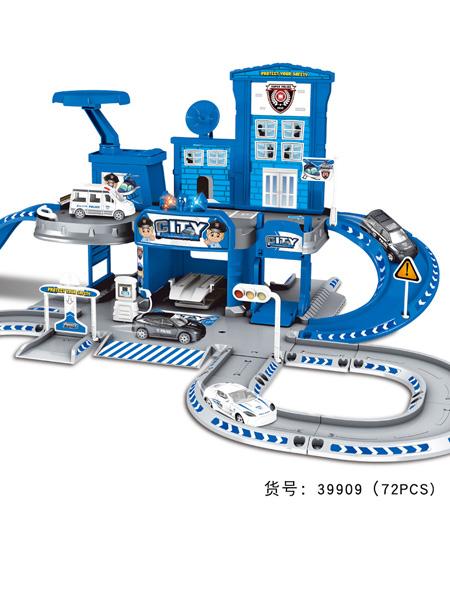 烨星婴童玩具儿童DIY多层轨道场景停车场模拟合金警车玩具益智拼装生日礼物