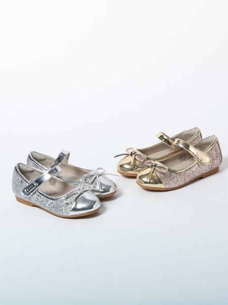 百丽国际童鞋品牌2020春夏银粉两色公主鞋
