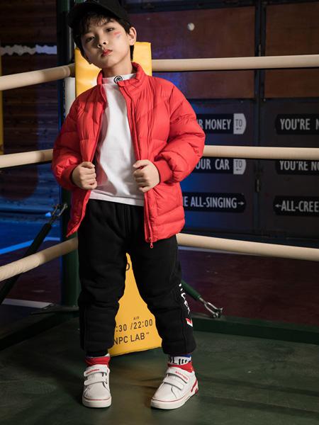 巴迪小虎BaDi Tiger童裝品牌2020秋冬紅色純色羽絨服