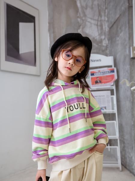 小嗨皮童裝品牌2020秋冬白青紫條紋帶帽上衣