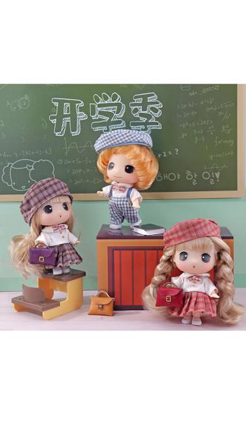 冬己婴童玩ddung冬己开学季娃娃迷你可爱学生装萌娃娃人偶