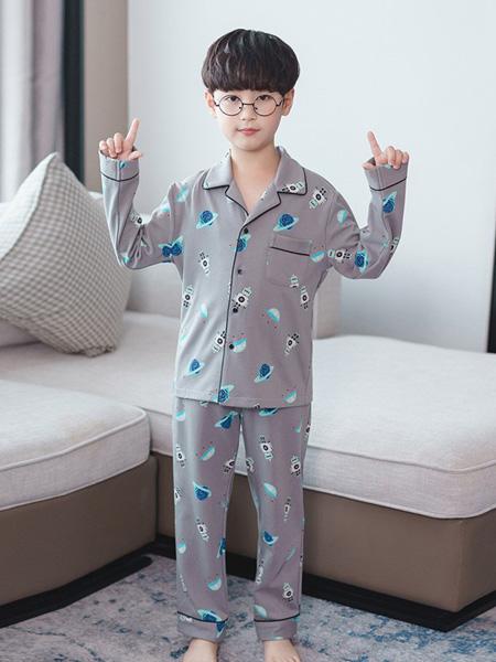 噜噜牛童装品牌2020秋冬灰色印花套装