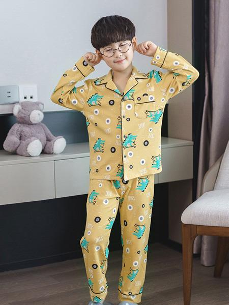 噜噜牛童装品牌2020秋冬黄色印花套装