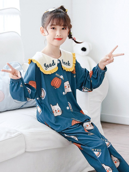 噜噜牛童装品牌2020秋冬蓝色睡衣套装