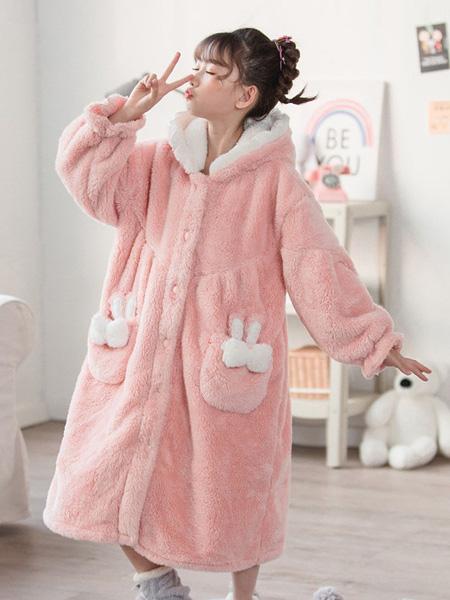噜噜牛童装品牌2020秋冬粉色长款睡衣