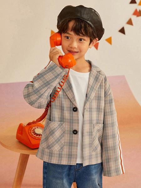 gxg.kids童装品牌2020秋冬米色格子外套