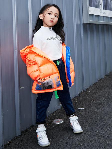 淘气贝贝童装品牌2020秋冬橘色羽绒服