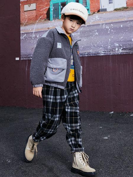 淘气贝贝童装品牌2020秋冬拼接灰色毛呢外套
