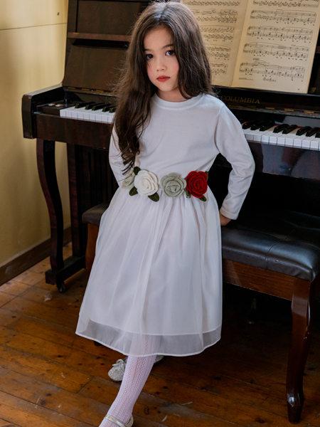 HULILULU呼尼噜噜童装品牌2020秋冬白色印花连衣裙