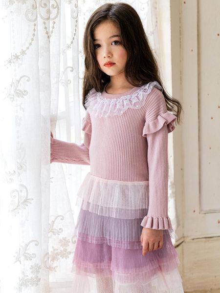 HULILULU呼尼噜噜童装品牌2020秋冬针织花边连衣裙