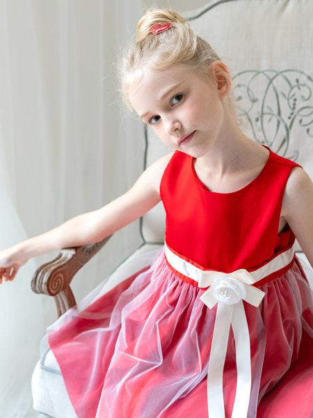HULILULU呼尼噜噜童装品牌2020秋冬红色无袖连衣裙