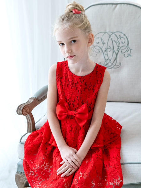 HULILULU呼尼噜噜童装品牌2020秋冬红色印花连衣裙