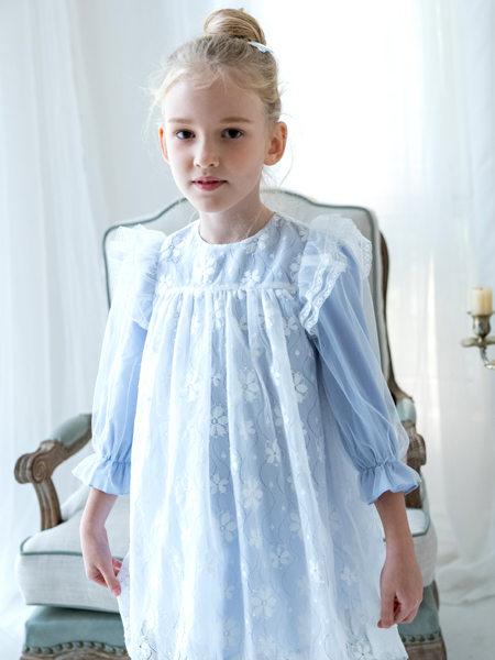 HULILULU呼尼噜噜童装品牌2020秋冬蓝色雪纺连衣裙