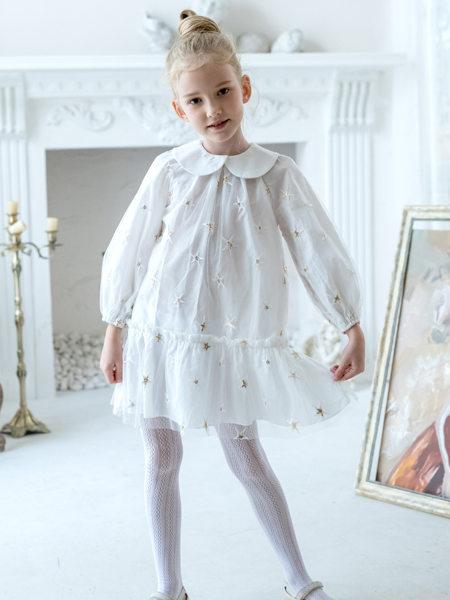 HULILULU呼尼噜噜童装品牌2020秋冬白色半透连衣裙