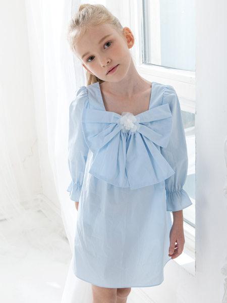 HULILULU呼尼噜噜童装品牌2020秋冬蓝色领结连衣裙