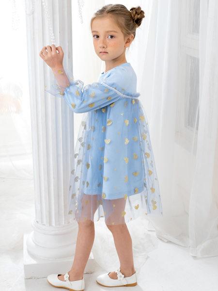 HULILULU呼尼噜噜童装品牌2020秋冬蓝色碎花连衣裙