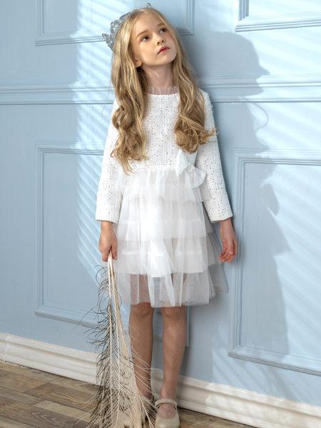 HULILULU呼尼噜噜童装品牌2020秋冬童趣白色连衣裙