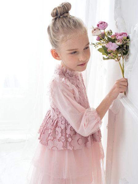 HULILULU呼尼噜噜童装品牌2020秋冬粉色印花连衣裙