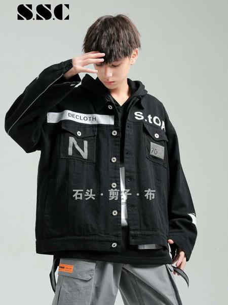 石头剪子布童装品牌2020秋冬字母黑色外套