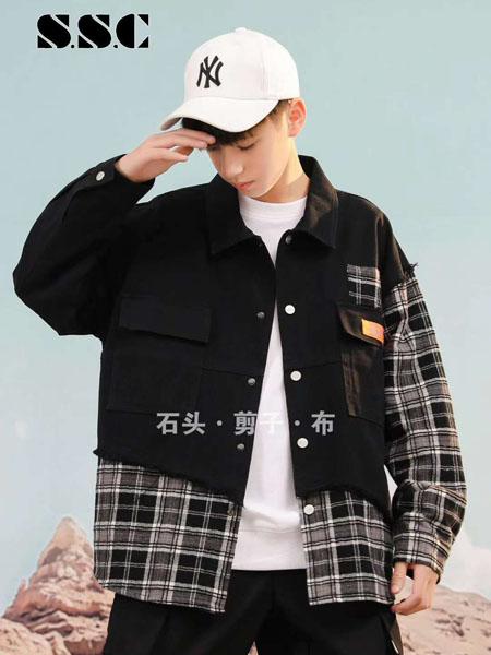 石头剪子布童装品牌2020秋冬黑色格子假两件外套