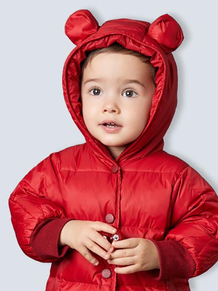 卓儿童装品牌2020秋冬红色带帽羽绒服