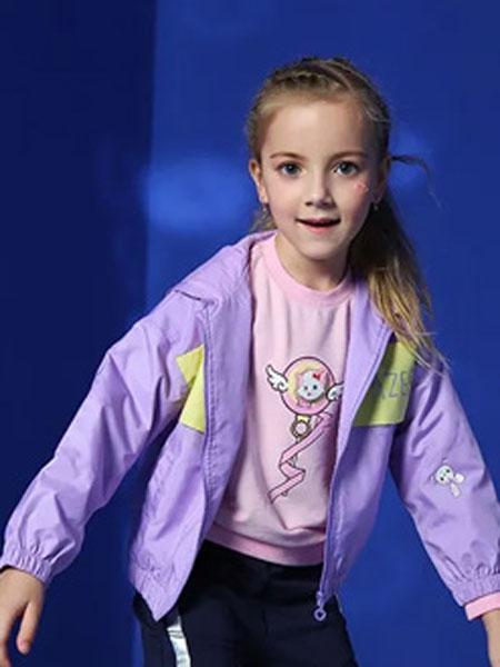 小兔与小狸F&R童装品牌2020秋冬紫色拼接外套
