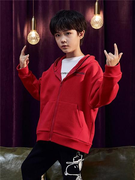 TONLIONkids童装品牌2020秋冬红色运动带帽卫衣