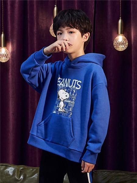 TONLIONkids童装品牌2020秋冬蓝色带帽卫衣
