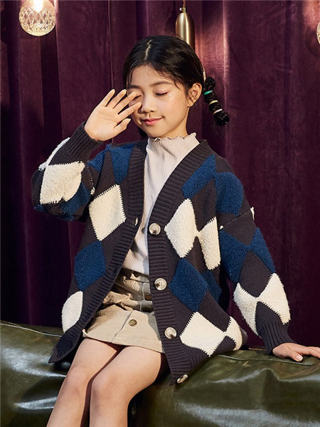 TONLIONkids童装品牌2020秋冬褐色针织外套