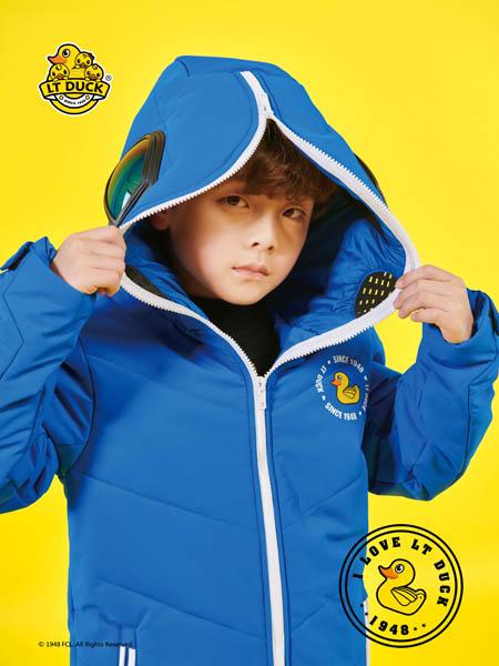 小黄鸭青少年童装品牌2020秋冬蓝色带帽羽绒外套